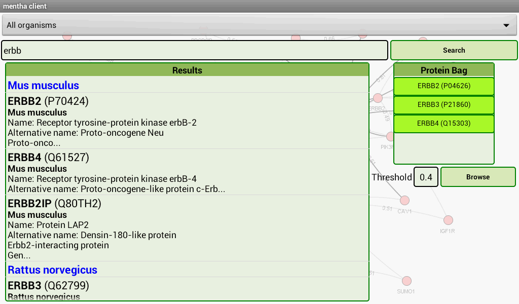 mentha the interactome browser- screenshot