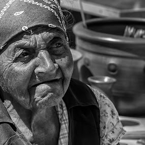 Old women at market by Valics Lehel - Black & White Portraits & People ( old, market, poor, buying, women,  )