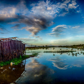 lincak by Dugalan Poto - Buildings & Architecture Decaying & Abandoned ( reflection, gubuk, dugalanisme, hut, shack, central java, flood, indonesia, dugalan, cloud, pond, tegal, abandoned, decay )