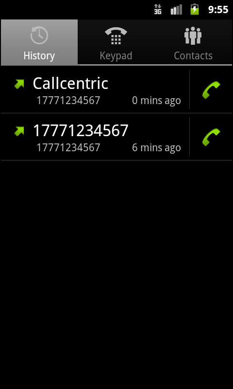 Callcentric - screenshot