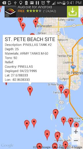 Florida Reef Fishing Scuba Map