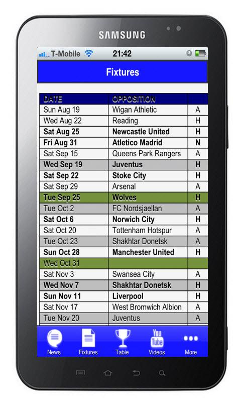 Chelsea FC News and Fixtures - screenshot