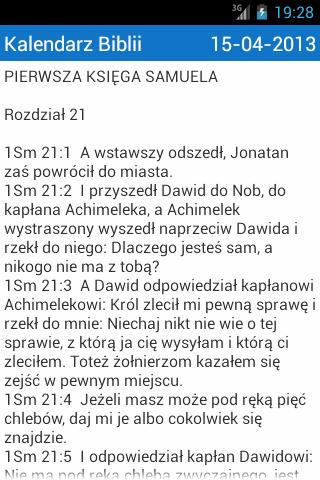 Kalendarz Czytania Biblii 2015