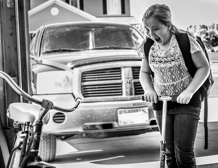 I got a new bike!! by Nicole Mitchell - Black & White Street & Candid ( expression, face, new, girl, bike, excited, surprise )
