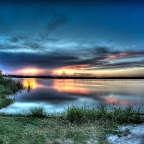 A little late by Chris Thomas - Landscapes Sunsets & Sunrises ( water, hdr, florida, sunset, lake )