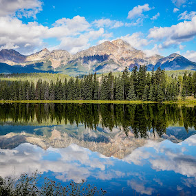by Chrysta Rae - Landscapes Mountains & Hills ( water, reflection, mountains, blue sky, mountain, canada, alberta, rocky mountains, lake, view, jasper, landscape )