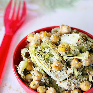 Golden Chickpea and Artichoke Salad