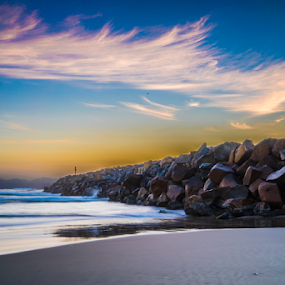Breakwall by Mitchell Oates - Landscapes Beaches ( clouds, water, waterscape, seascapes, waves, ocean, sunrise, seascape, beach, landscape, surf )