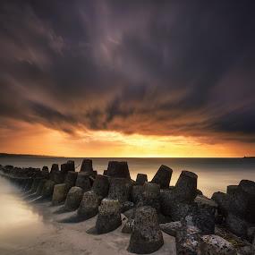 Storm Incoming by Eggy Sayoga - Landscapes Sunsets & Sunrises ( indonesia, sunset, cloudy, long exposure, beach, storm )