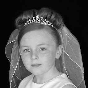 Communion Photo  by Lisa Kirkwood - Babies & Children Child Portraits ( communion girl beautiful dress black and white,  )