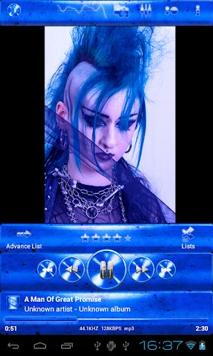 Poweramp skin 青いグランジ