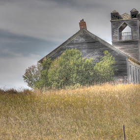 Sunday services.....let us pray by Debbie Sodeman-Roelle - Buildings & Architecture Places of Worship ( canon, field, grassland, north dakota, hdr, church, landscapes, abandoned )