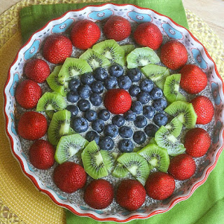 Vanilla Chia Pudding Pie with Almond Crust.