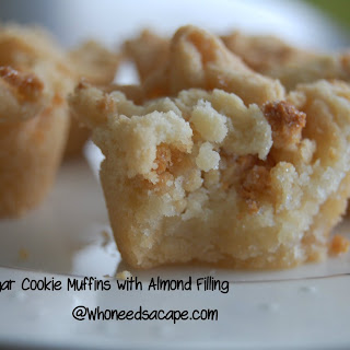 Sugar Cookie Muffins with Almond Filling.