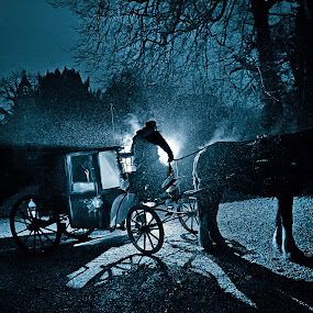 The Carriage  by Martin Hill - Wedding Bride & Groom ( weddings somerset, romantic weddings, winter weddings )