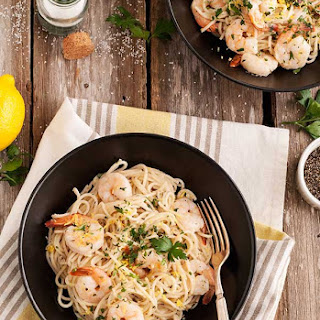 Gluten Free Lemon Pasta with Roasted Shrimp