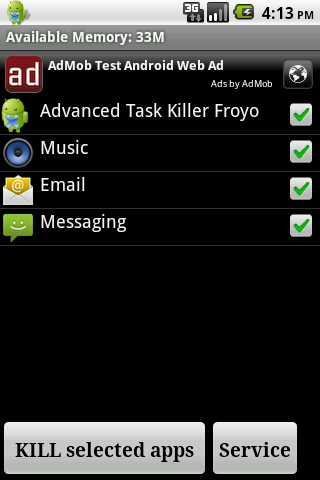 Advanced Task Killer Froyo - screenshot