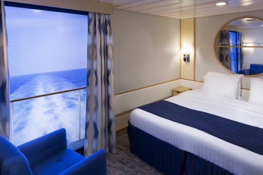 A virtual balcony in an inside stateroom on Navigator of the Seas.
