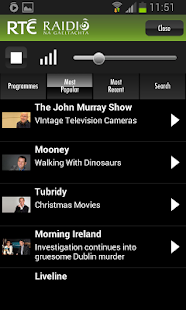 RTÉ Radio Player- screenshot thumbnail