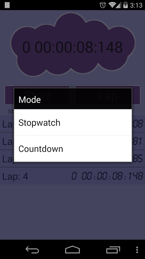 Stopwatch, countdown - screenshot