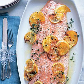 Salmon Fillet With Citrus and Thyme.