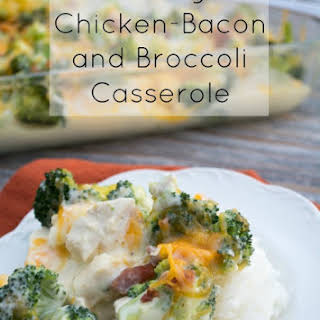 Cheesy, Chicken, Bacon, and Broccoli Casserole.