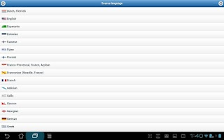 Screenshot of Dictionary in 180 languages