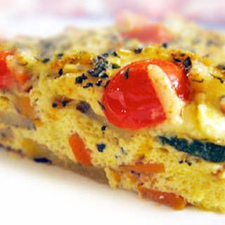 Roasted Vegetable Cheddar Quiche.