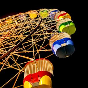 Ferris Wheel by Loredana  Smith - Artistic Objects Other Objects ( ride, rollercoaster, rotate, wheel, merry, colorful, sensation, joy, circle, blur, recreation, attraction, dizzy, luna, child, funfair, risk, circular, lunapark, whirligig, happy, carousel, spin, festival, motion, twirl, light, move, ferris, turn, extreme, park, speed, carnival, bulbs, fun, kids, machine, centrifuge, fair, rotating, amusement, fly, centrifugal, night, celebration, high, big )