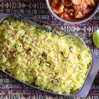 Saffron Rice with Golden Raisins and Pine Nuts.