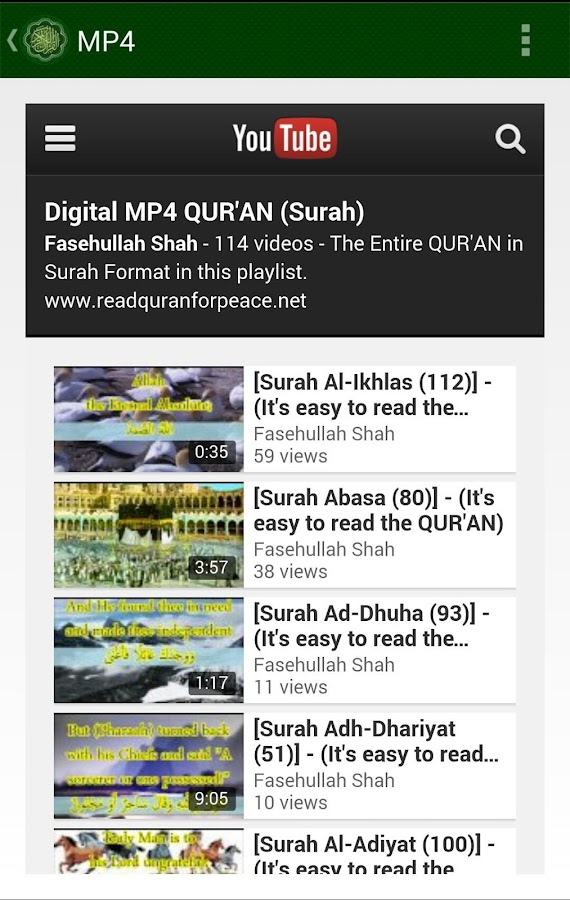 Peace QUR'AN - MP3, MP4, Read- screenshot