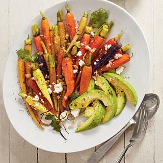 Roasted Carrots with Avocado and Feta Vinaigrette