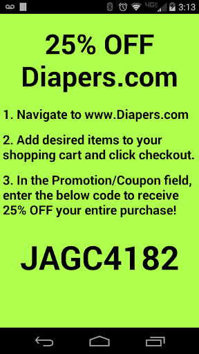 Diapers 25 OFF Coupon