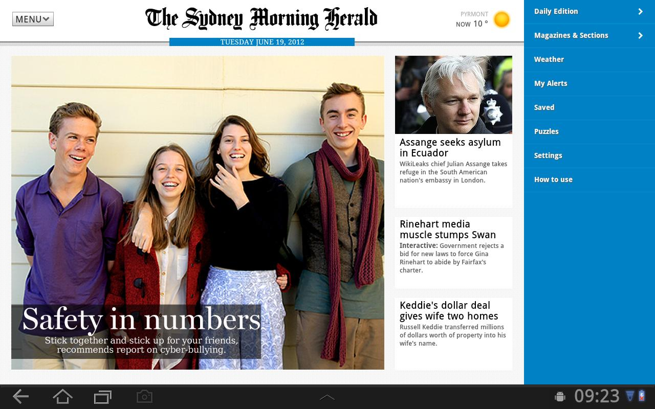 The SMH App for Tablet- screenshot