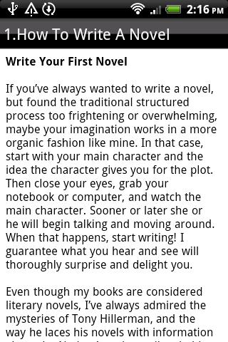 How to write a nove