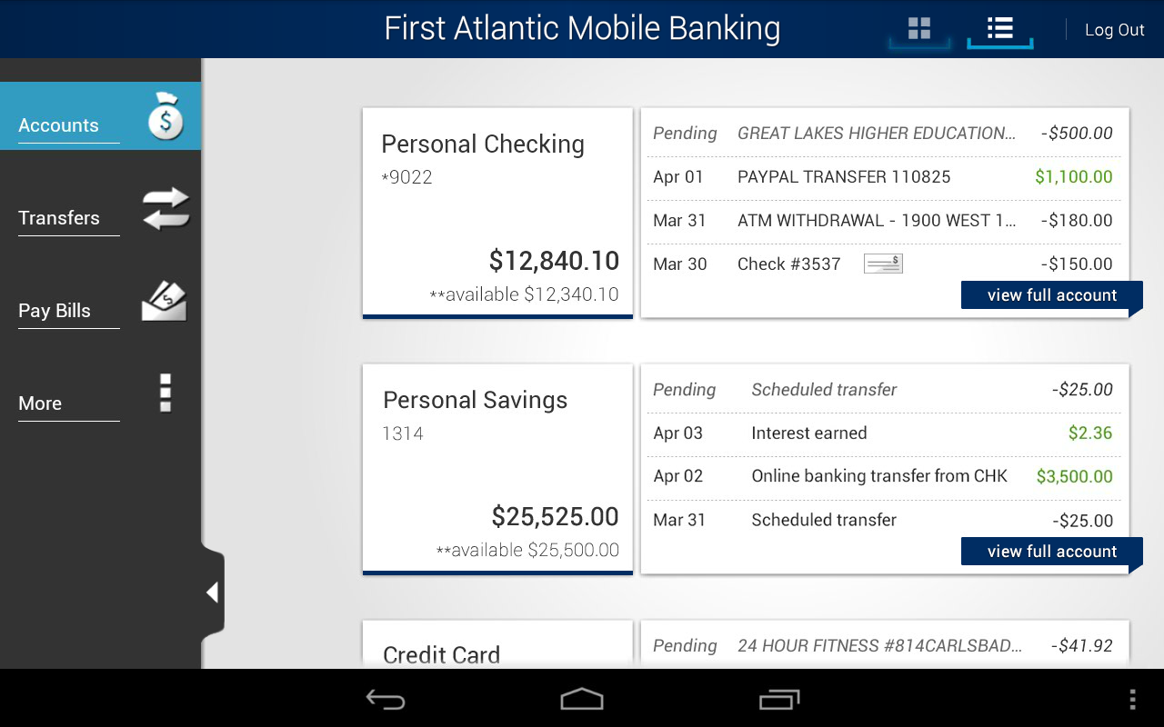 First Atlantic Mobile Banking - screenshot