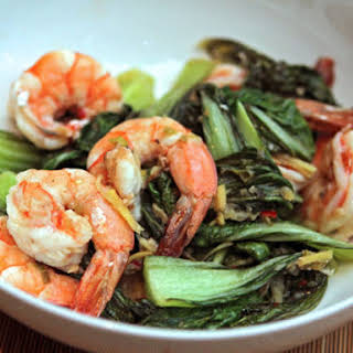 Nigel Slater's Shrimp with Asian Greens.
