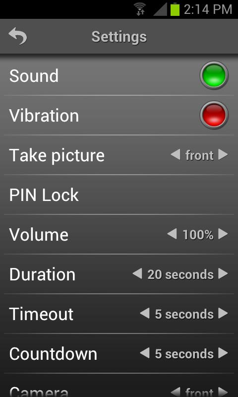 Mobile Alarm System Lite- screenshot