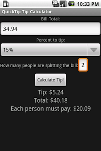 QuickTip Tip Calculator - screenshot thumbnail