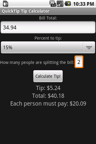 QuickTip Tip Calculator - screenshot