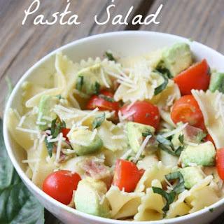 Tomato, Basil, Avocado Pasta Salad.