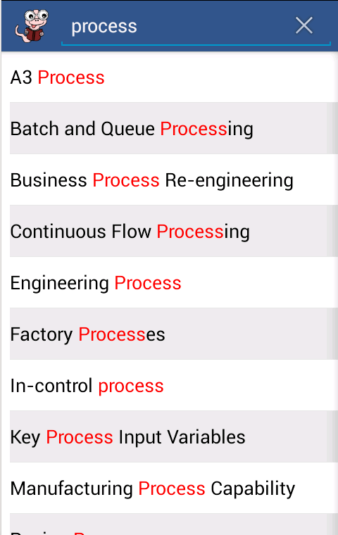 Six Sigma Glossary- screenshot