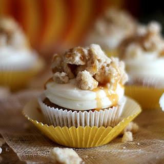 Cinnamon Streusel Pumpkin Cupcake with White Chocolate Cream Cheese Frosting.