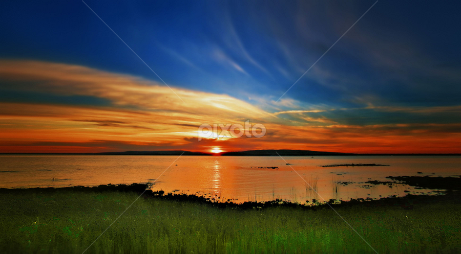 by Otto Mercik - Landscapes Sunsets & Sunrises ( landscape, beach, , blue, orange. color, golden hour, sunset, sunrise )