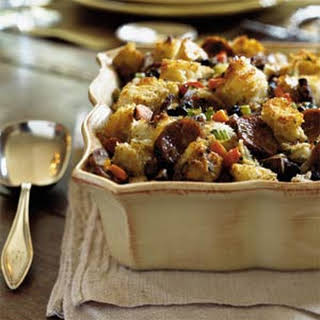 Herbed Bread Stuffing with Mushrooms and Sausage.