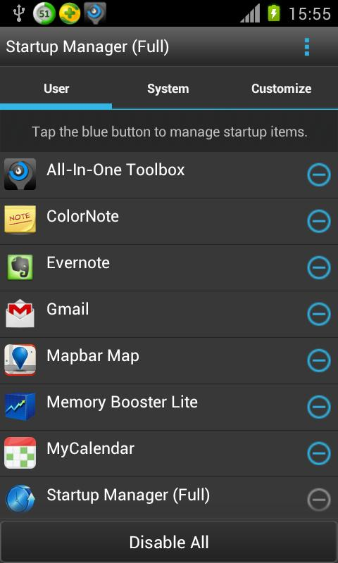 Startup Manager (Free)- screenshot