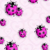 Purple Ladybugs On Pink Wall