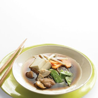Asian Noodle Soup with Winter Vegetables and Tofu.