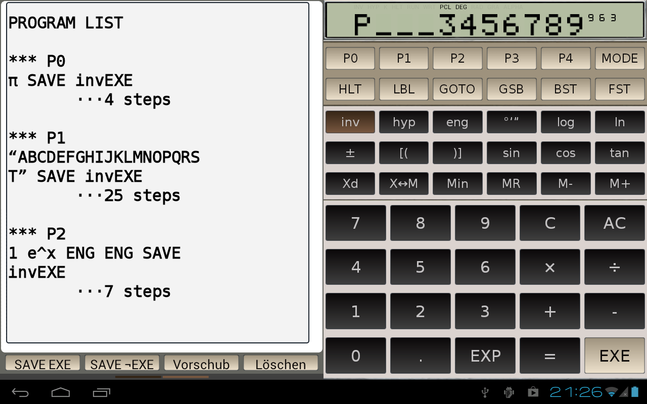 FX-602P scientific calculator - screenshot