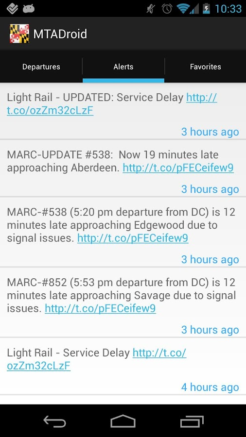 MTADroid - (Maryland Transit) - screenshot